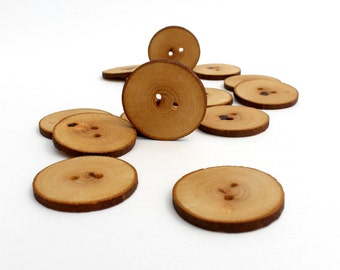 Platanus / London Plane Tree Wood Buttons 14 pcs  Medium / Large 1 9/16 inch (40 mm) natural handmade wooden tree branch buttons