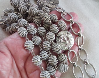 vintage Chicos jewelry silver beaded necklace 2 strand