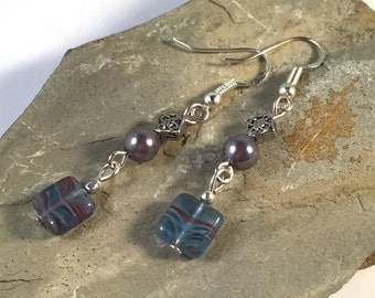 EARRINGS Grey/Blue Square Glass Dangly Beads on .925 Sterling Silver Hooks
