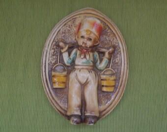Rare Antique Plaster Chalkware Dutch Boy
