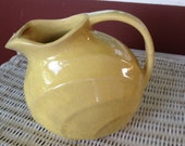 Classic Yellow Ceramic Water Pitcher - Vintage - Unmarked