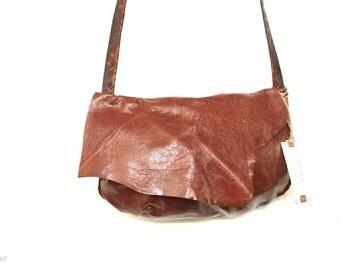 Brown  leather crossbody purse - Shoulder  bag - Hobo -  Gipsy - Handmade - One of a kind!