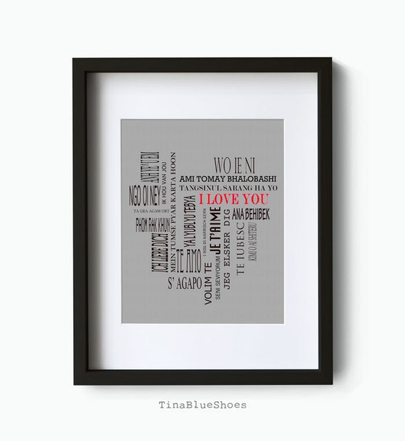 Personalized Custom Giclee Art Print - I Love You In Many Languages Art Poster