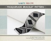 Peyote Bracelet Pattern - MASQUERADE Bracelet in Black and Silver - Digital Download