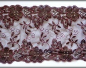 """Embroidered Tulle Wide Floral Lace, Brown, 6.5"""" inch wide, 1 Yard For Apparel, Home Decor, Accessories, Mixed Media, Scrapbook"""