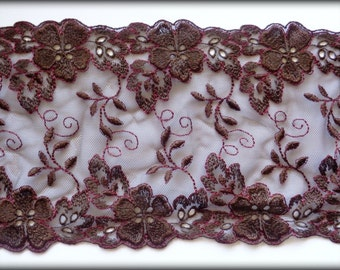 "Embroidered Tulle Wide Floral Lace, Brown, 6.5"" inch wide, 1 Yard For Apparel, Home Decor, Accessories, Mixed Media, Scrapbook"