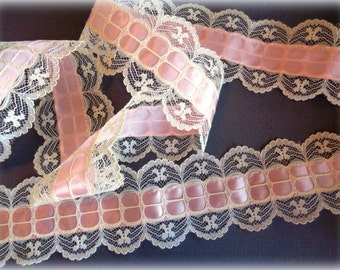 "Romantic Lace with Ribbon Beading, White / Pink, 2 3/8"" inch wide, 1 yard For Costumes, Dolls, Accessories, Decor, Scrapbook"