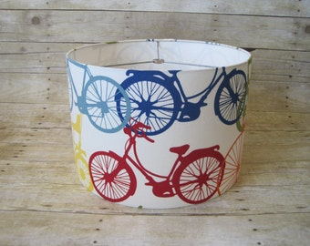 Drum Lamp Shade Lampshade Bicycles in Primary Colors - READY TO SHIP