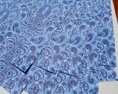 """10 sheets of Woodland Paisley Blue Wrapping Paper, 19x27"""",  in blues and white using vegetable inks on recycled paper 1.50 a sheet"""