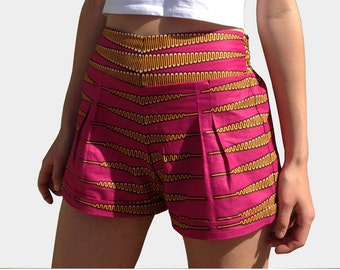 Handmade High Waist Cotton Shorts African Fabric Size Small