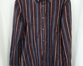 Kenzo Homme floral jacquard burgundy French cuff dress shirt/pink and blue stripes made in France: size 42/ 16.5