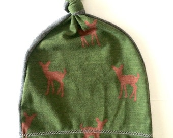 Baby boy hat. Newborn knot hat. Adjustable. Green/ gray with deer printed fabric. (Made by lippy brand)