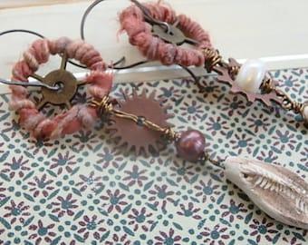 Fossil Finds earrings- asymmetrical bead dangle earrings. mixed media earrings. long steampunk. gypsy boho beach glam. Jettabugjewelry