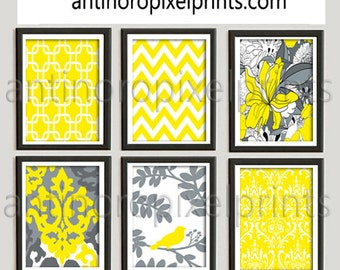 Wall Decor Yellow Greys White Wall Art Modern inspired Wall Art Prints Collection  -Set of 6 - 8x10 Prints  (UNFRAMED)