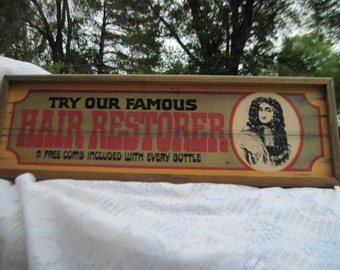 Vintage Sign Try Our Famous Hair Restorer 75, By Douglas a Murphy, Vintage Wall Hanging, Country Decor, Farm House Decor, Vint Home Decor )*