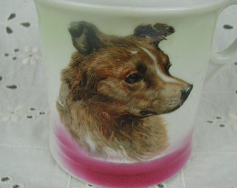 Antique Porcelain Child's Cup or Mug, Pink Luster with Collie Dog, Collectible Cup