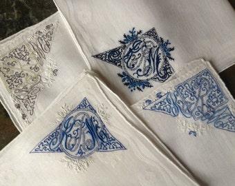 "Delicate Swiss Vintage Batiste Cotton Embroidered Monogrammed ""KRM"" Handkerchiefs  ~  Set of 4  ~ Blue Gray White"