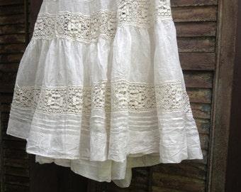 Antique Cotton Fine Lace Petticoat Slip Edwardian Victorian, Period Clothing