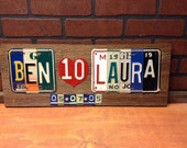 WEDDING Anniversary sign made from Vintage license plates and barn wood- wedding date - license plate sign- wedding gift- wedding sign