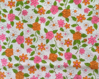 Vintage 60s Cotton Daisy Kettle Cloth Fabric White Hot Pink Lime Green Tangerine Flowers Mid Century Retro Light Weight Cute Bright Fun CBF