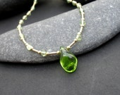 Natural Gemstone Raw Peridot Tear Drop Pendant 14kt Gold Filled Necklace