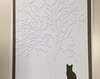 Set of 4 note cards....Cat Sitting Under The Tree