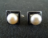 Vintage Silver Earrings.  Screw Back Type, Stamped.  Square, Black Enamel Border, Large Central Faux Pearl.