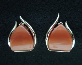 Vintage Clip Earrings, Gold Tone with Red Brown Feature.  Excellent Condition.