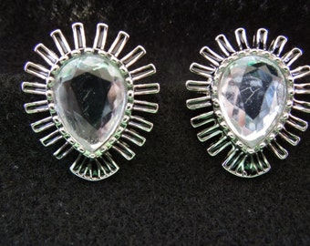 Vintage Clip Earrings, Silver Tone Tear Drop with Black Enamel and a Rhinestone Center