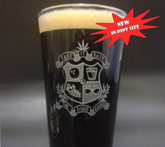 Dudeist coat of arms on a pint glass