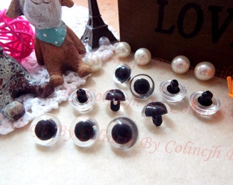 9mm Safety Eyes Sewing Eyes Glass Eyes Colored Eyes --Clear--10pairs