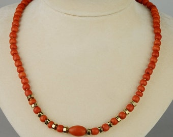 Victorian natural Sciacca coral from Sicily rare antique necklace