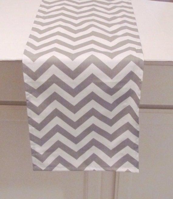 Grey Table Runner- Grey  Chevron Zigzag Table Runner- Grey Table Cloth