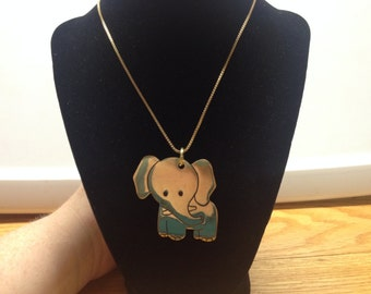 Vintage Goldtone Design Necklace with RUSS Elephant Pendant