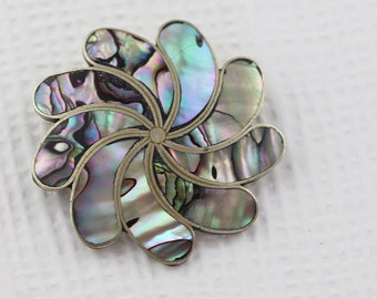 Silver Round Swirl Abalone Brooch  Alpaca Mexican
