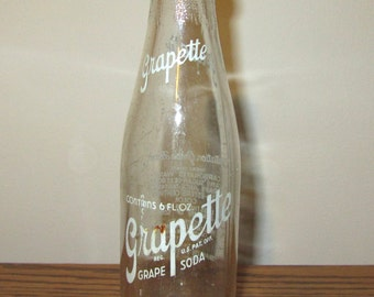 Vintage Grapette Soda Bottle 1940's 50's Fremont Ohio