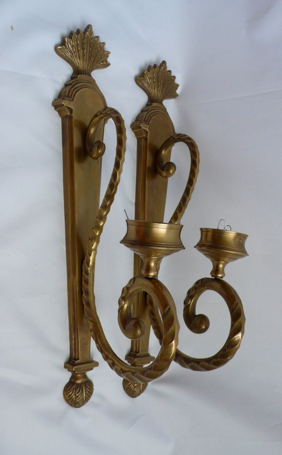 wall sconce candle holder vintage brass wall candle sconces holder large pair w glass 11036