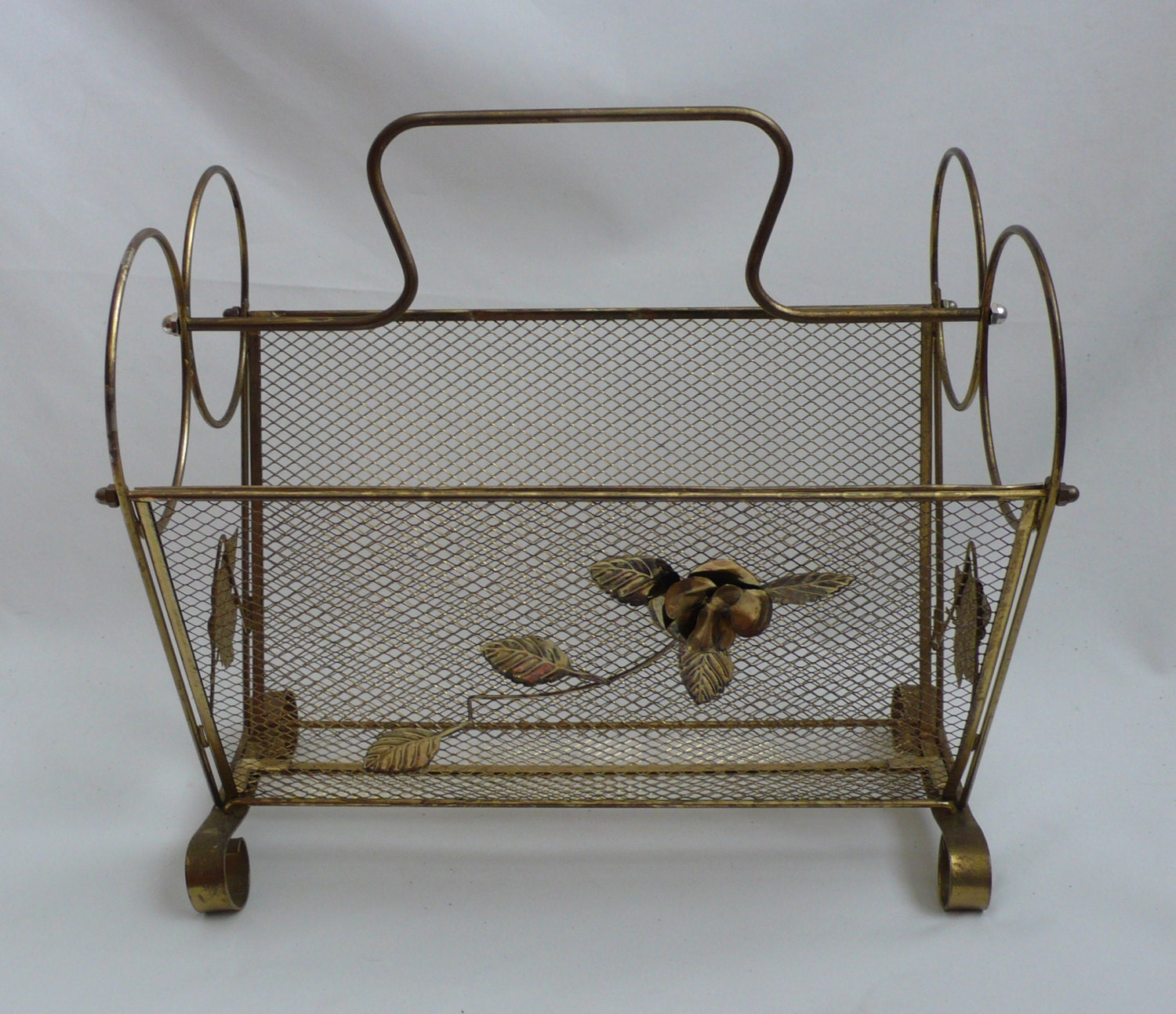 vintage gold wire and mesh magazine rack shabby chic by. Black Bedroom Furniture Sets. Home Design Ideas