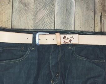 Natural vegtan full grain leather belt