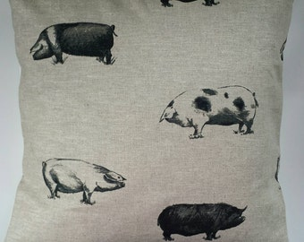 "Cushion Cover in Clarke and Clarke Country Pigs 14"" 16"" 18"" 20"""