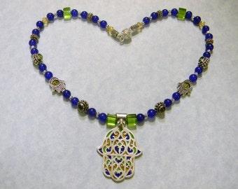 Tuareg Berber Enamel Hamsa Pedant and Blue,Green and Yellow Gemstone Necklace