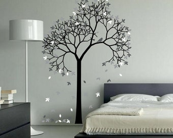 Marvelous Aspen Tree Wall Decal Forest With Bird And Leaves Vinyl Sticker Removable  Nursery Art 1267