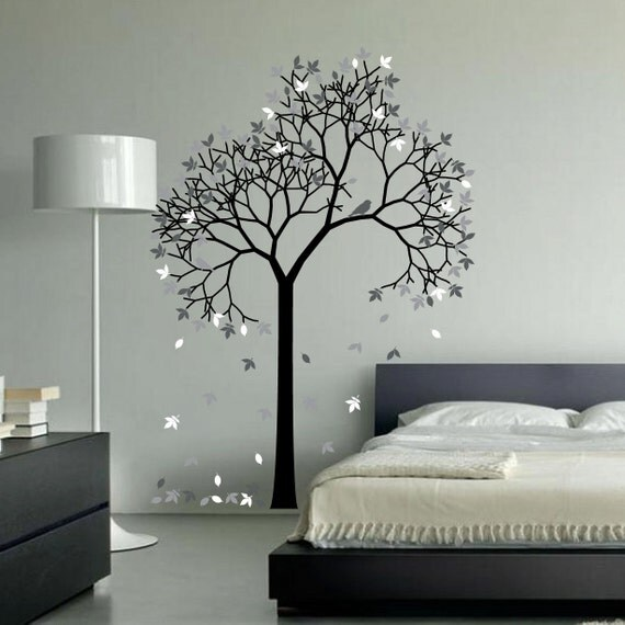 Aspen tree wall decal forest with bird and leaves vinyl for Aspen tree wall mural