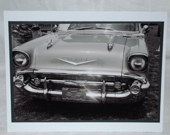 photo card, black and white 1957 Chevy photograph