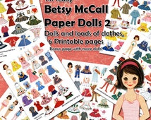 1950s Dress Up Paper Dolls Set 2 - Digital Printable Vintage Betsy McCall Paper Dolls and Lots of 1950s Style Clothes for the Dollies