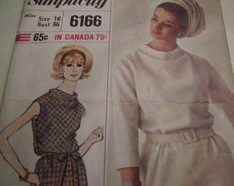Vintage 1960's Simplicity 6166 Dress Sewing Pattern, Size 16, Bust 36