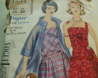 Vintage 1960's Vogue 4234 Dress and Coat Sewing Pattern, Size 10, Bust 31