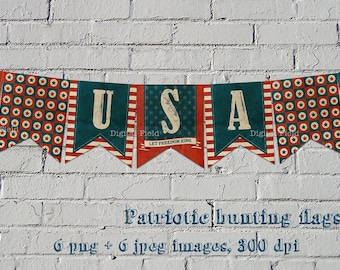 Patriotic printable bunting flags - DIY - 4th of July textured banner - blue white red - instant download