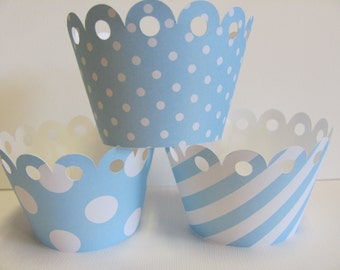 Cupcake wrappers, Light Blue and White Set of 12