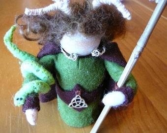 Celtic God Cerununnos Peg Doll, Horned God, Waldorf Wooden Peg Doll, Handmade Miniature, Art Doll